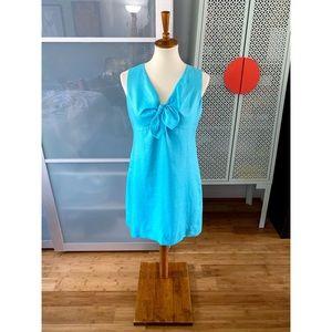 Kate Spade Viola Linen Bow Shift Dress in Blue
